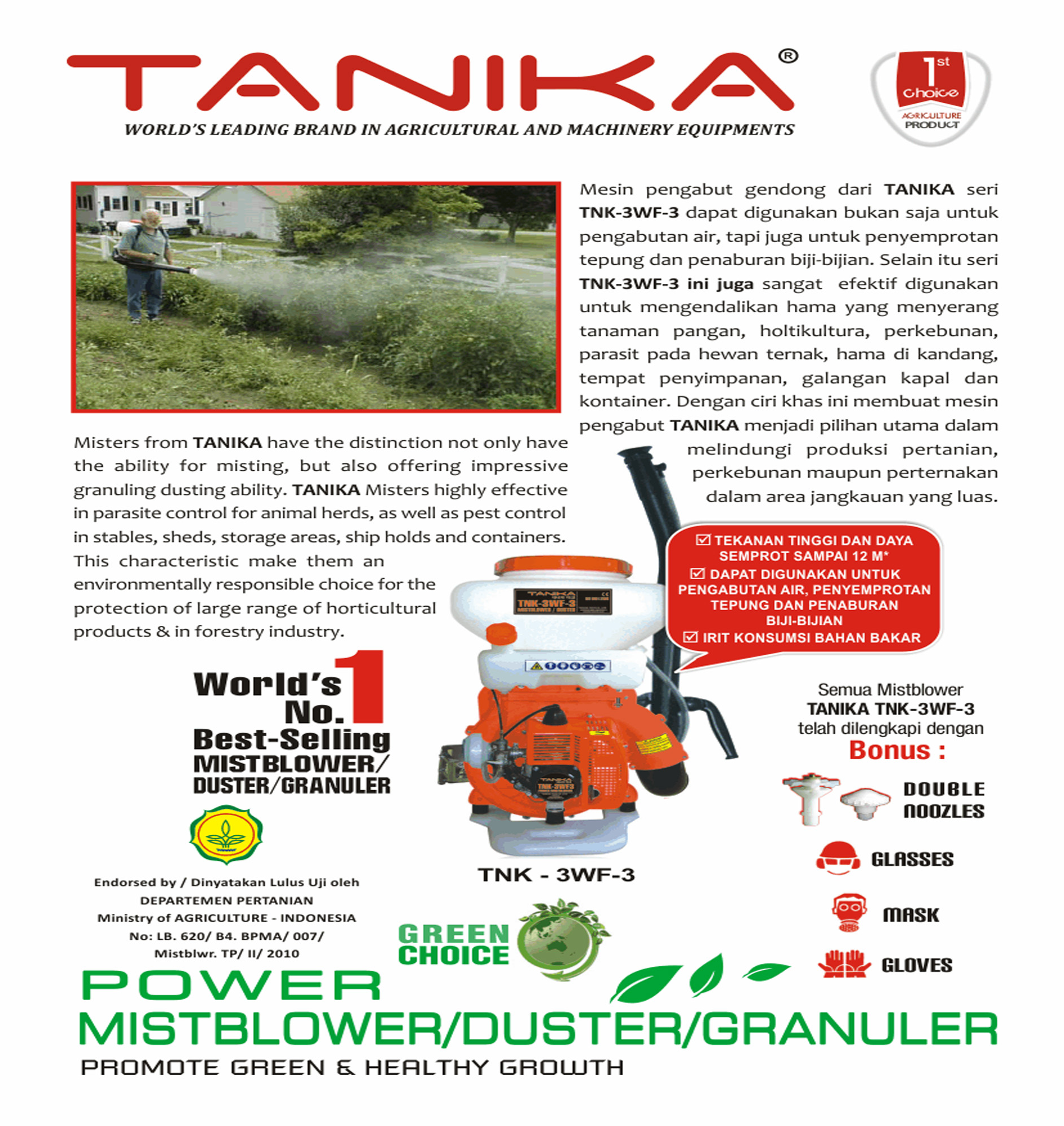 Tanika Spesifikasi Produk Tnk Wf Trei Mistblower Mesin Semprot Pengabut Gendong