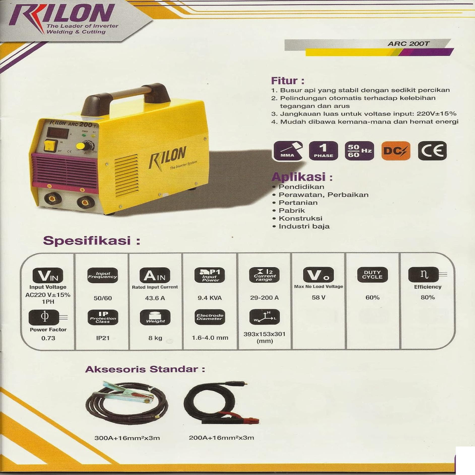 Harga Jual Rilon Arc 200t Mesin Las 160 Riland Inverter Mma Pengelasan Welding Adalah Merupakan Salah Satu Teknik Penyambungan Logam Melalui Cara Pencairan Sebagian Induk Dan Pengisi