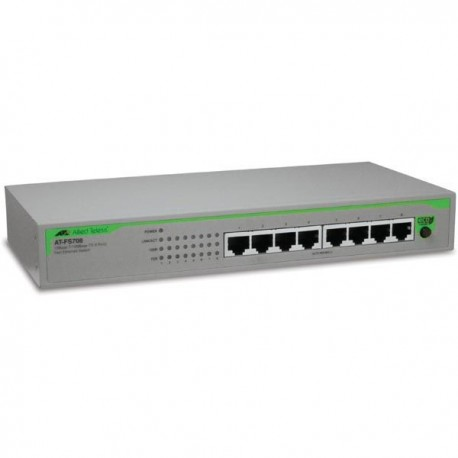 Allied Telesis AT-FS708 Desktop Switch 8 Port 10/100 Mbps Int Power POE 1 SFP Slot