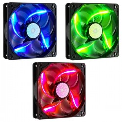 Cooler Master 90 CFM LED Silent Fan 120mm Green Blue Red 2000 M