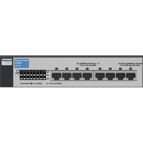 HP V1700-8 Web-smart Switch with 7x10/100 ports and 1x10/100/1000 ports J9079A