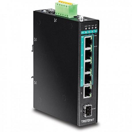 TRENDNET TI-PG541 5-Port Hardened Industrial Gigabit PoE+ DIN-Rail Switch