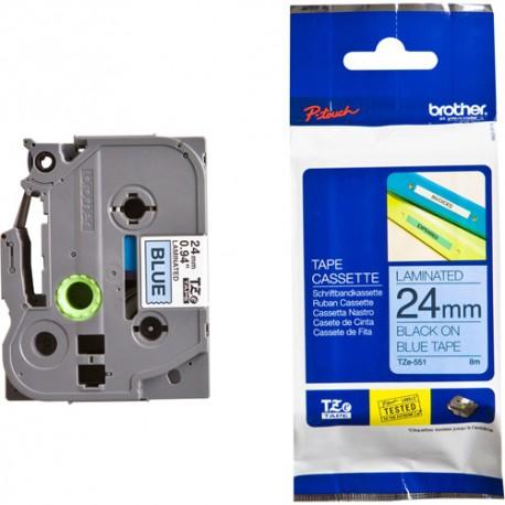 Brother TZE-551 Kertas Label 24 mm Black on Blue