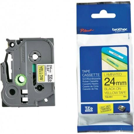 Brother TZE-651 Kertas Label 24 mm Black on Yellow