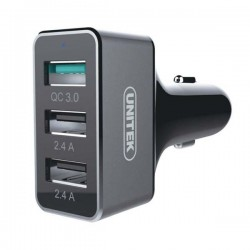Unitek YP530C Smart Car Charger USB 3-Port 42W QC 3.0