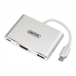 Unitek Y-9102 USB Type-C Aluminium Multiport Hubwith Power Delivery (1-Port USB3.0 + 2-Port USB2.0 + VGA)
