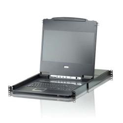 Aten CL6708MW Single Rail 8-Port DVI FHD LCD KVM Switch 17.3 inch