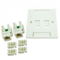Prolink CAT-5E Double Faceplate with Keystone Jacks
