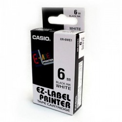 Casio XR-6WE1 Label Tape Black On White 6mm