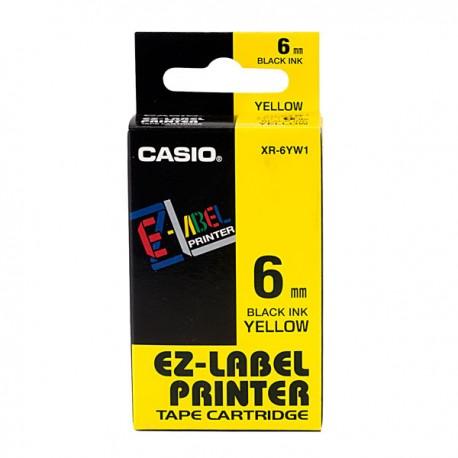 Casio XR-6YW1-W-DJ1 Label Tape Black On Yellow 6mm