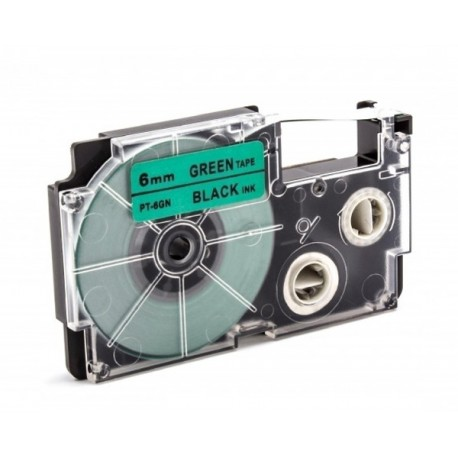 Casio XR-6GN1 Label Tape Black On Green 6mm