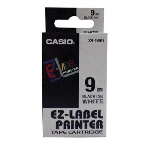 Casio XR-9WE1 Label Tape Black On White 9mm