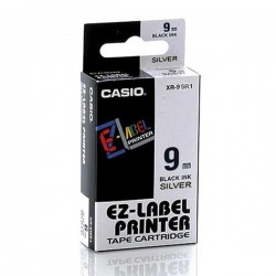 Casio XR-9SR1 Label Tape Black On Silver 9mm