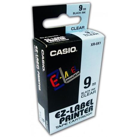 Casio XR-9X1 Label Tape Black On Clear 9mm