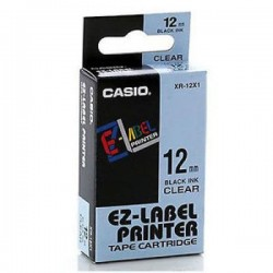 Casio XR-12X1 Label Tape Black On Clear 12mm