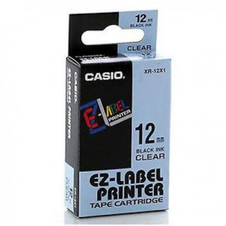 Casio XR-12X1 Label Tape Black On Clear 12mm
