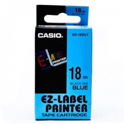 Casio XR-18BU1 Label Tape Black On Blue 18mm
