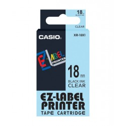 Casio XR-18X1 Label Tape Black On Clear 18mm