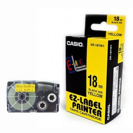 Casio XR-18YW1 Label Tape Black On Yellow 18mm