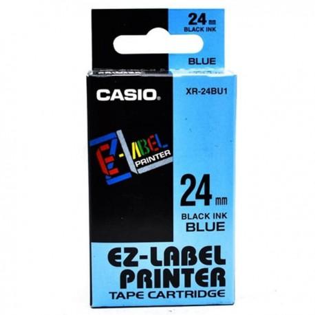 Casio XR-24BU1 Label Tape Black On Blue 24mm