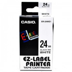 Casio XR-24WE1 Label Tape Black On White 24mm