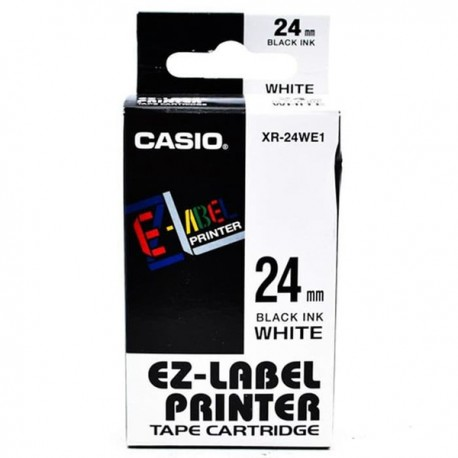 Casio XR-24WE1 Label Tape Black On White 24mm