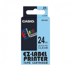 Casio XR-24X1 Label Tape Black On Clear 24mm