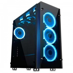 Aigo Atlantis Blue LED Ring Mid Tower ATX Tempered Glass Gaming Case