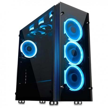 Aigo Atlantis Blue LED Ring Mid Tower ATX Tempered Glass Gaming Case