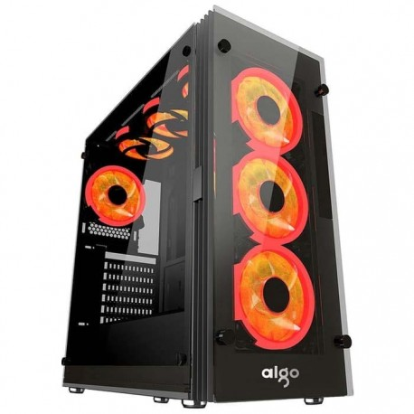 Aigo Atlantis Red LED Ring Mid Tower ATX Tempered Glass Gaming Case
