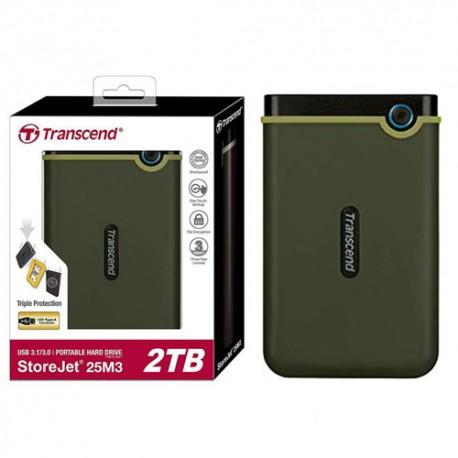 Transcend TS2TSJ25M3G 2TB Storejet 25M3 Hardisk External USB 3.0 Military Green