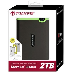 Transcend TS2TSJ25M3C 2TB Storejet 25M3 Hardisk External USB 3.0 Iron Gray