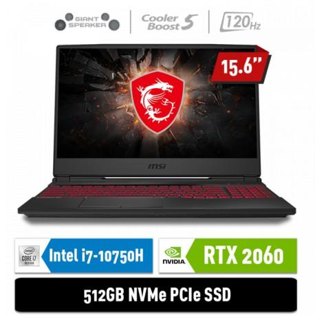 "MSI Notebook GL65 10SER 9S7-16U722-216 i7-10750H 8GB 512GB RTX2060 6GB 15.6"" FHD Win10Home"