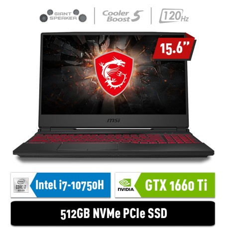 "MSI Notebook GL65 10SDR 9S7-16U722-217 i7-10750H 8GB 512GB GTX1660Ti 6GB 15.6"" FHD Win10Home"