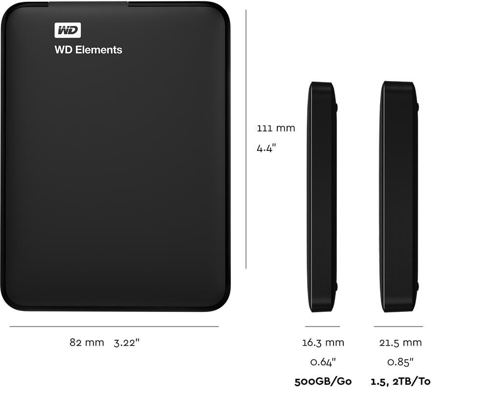 Harga WD 500GB Elements Portable External Hard Drive USB 3.0 (WDBUZG5000ABK)